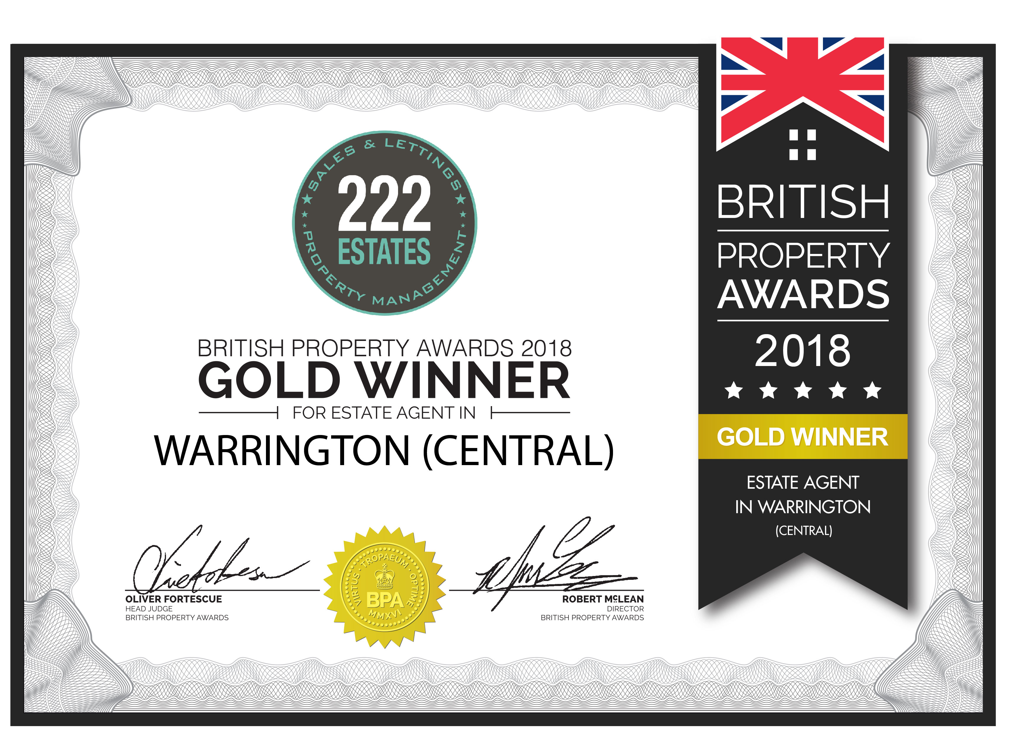 British Property Awards 2018 Gold Winners for Best Estate Agents in Warrington Central